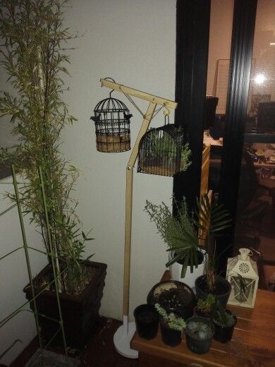 Upcycled floor lamp turned birdcage plant stand -made by TRINH (TM)