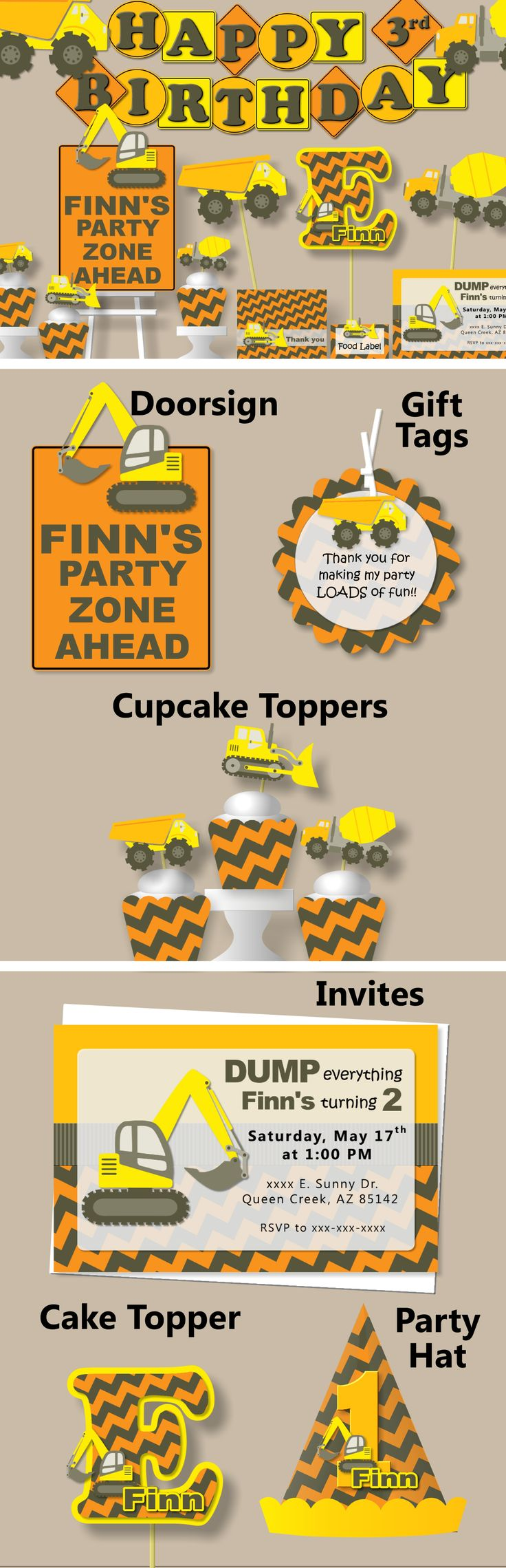 Construction Birthday Party Theme - Banner, Invitations, Cupcake Toppers, Cake Topper, Favor Tags #bcpaperdesigns