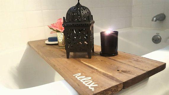 Bath Tub lade Caddy Bad lade, Bad Caddy, vlek ontspannen, rustieke badkamer…