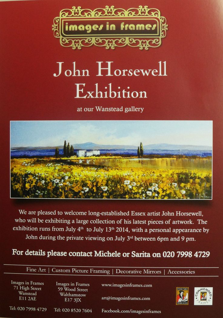 TWO WEEKS UNTIL THE PERSONAL APPEARANCE AT IMAGES IN FRAMES, WANSTEAD OF THE RENOWNED ARTIST JOHN HORSEWELL.  JOHN WILL BE HERE ON JULY 3, 2014 FROM 6 - 9 PM. #e17 #wansteadium #awesomestow