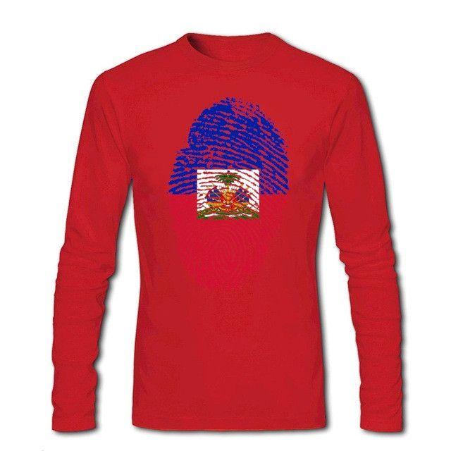 Haiti Flag Fingerprint Men's Long Sleeve T-Shirts