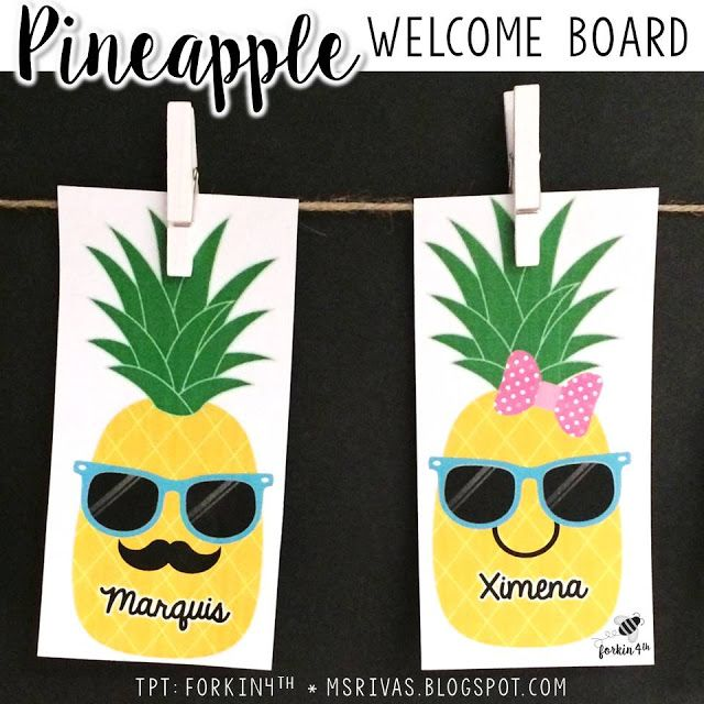 Whip up a PINEAPPLE themed back-to-school welcome bulletin board!  Editable name tags to personalize for your class!