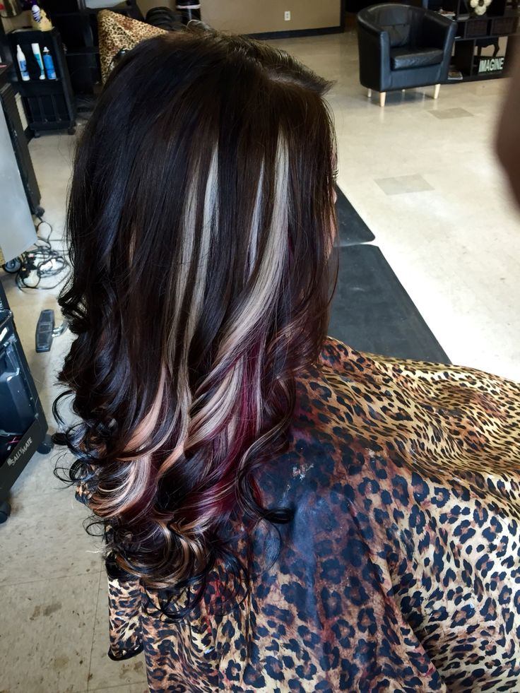 Mocha brown with blonde and red violet peekaboos