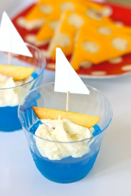 Wee Readers: Stuart Little book club.  Jello with sailboat for Stuart's sailing race.