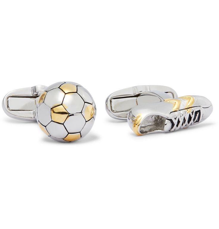 <a href='http://www.mrporter.com/mens/Designers/Paul_Smith'>Paul Smith</a>'s gold and silver-tone cufflinks are expertly moulded into a football and boot – so you can honour your love of the beautiful game outside of the stadium. This pair features T-bar backs that fasten securely and comes housed in a neat presentation box.