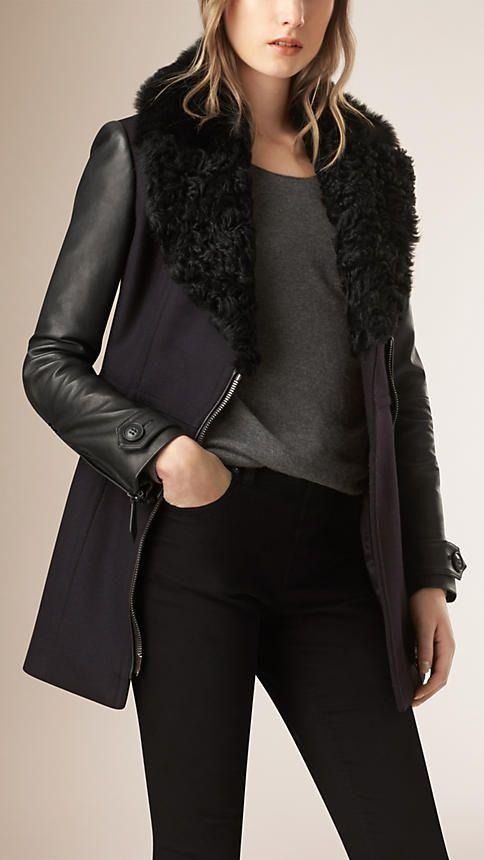 Navy Cappotto in lana e cashmere con sopracollo in shearling - Immagine 1