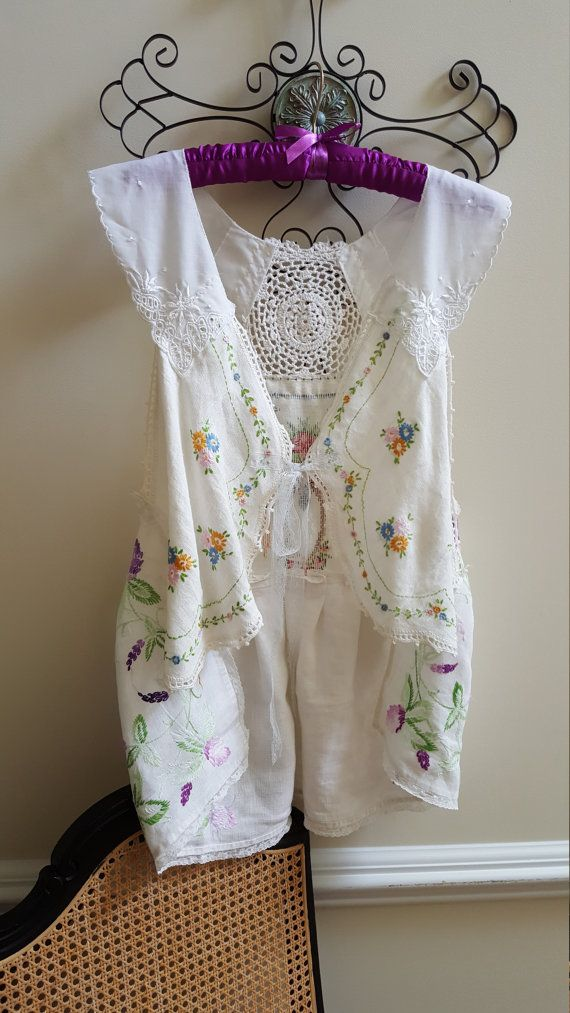 Shabby Chic Art to Wear Vest, Vintage Crochet, Lace & Embroidered Linens