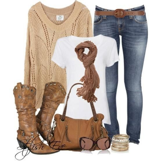 I have this outfit but with tan and white see through sweater. Can wear cowgirl boots or regular boots.
