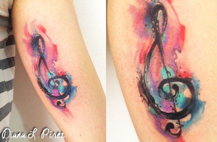 music <3 :) I love doing these effects. #tattoo #watercolor tattoo #music…