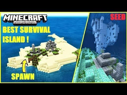 BEST* SURIVAL ISLAND SEED FOR MCPE 1 4 ! RUINS ON LAND & ON