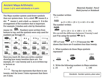 Here's a mini-booklet of activities for students on the Mayan system of numeration. Download an answer key at: http://math.schaubroeck.net/files/maya_arithmetic_ANSWER_KEY.pdf
