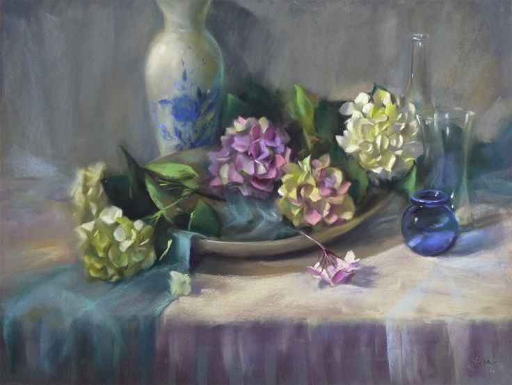 """""""Efflorescence"""", 21 x 30, pastel  Beautiful spilling hydrangeas, painted from life!"""
