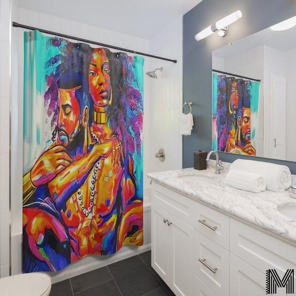 Black Love Shower Curtain In 2020 Girls Shower Curtain Black