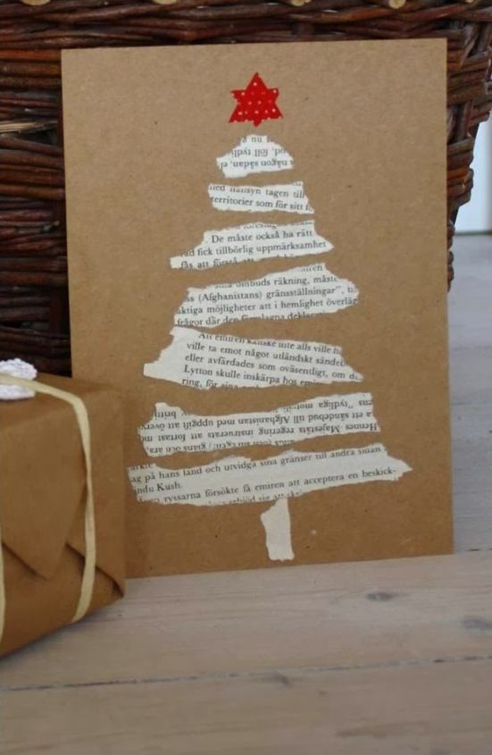 Christmas card--I'm thinking photocopies of the Christmas story from the Bible. Cut out the verses stack to make the tree. Like this, but clean lines instead of ragged; in English instead of German; tells the Christmas story instead of just defacing a book....