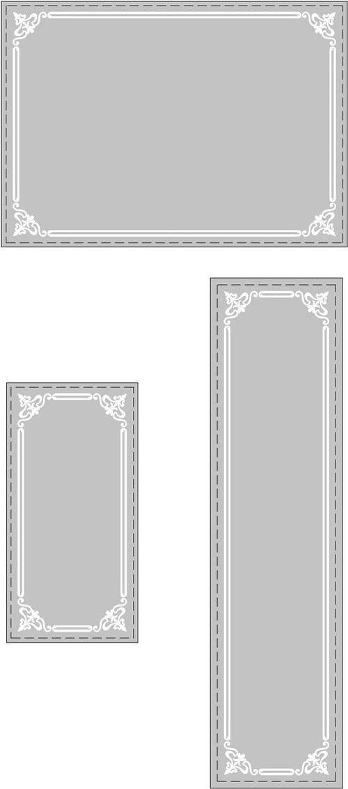 Decorative Glass Etched Border Stencils Wall Mirrors