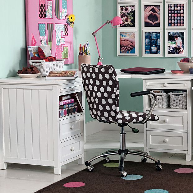 Kids Room, Kids Study Desk Table Room Design Rooms Ideas Furniture Designs Girls Boys Decor Room With Polka Dot Chair: Great Kids Study Room Inspirations by Pbteen