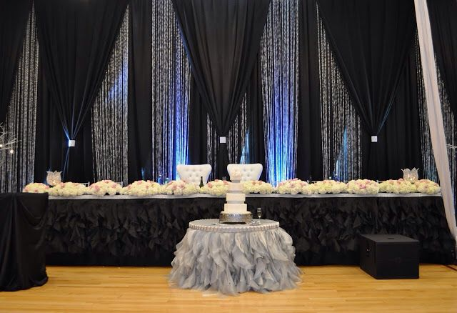 Black Silver And Crystal Backdrop Lighting Amp Draping
