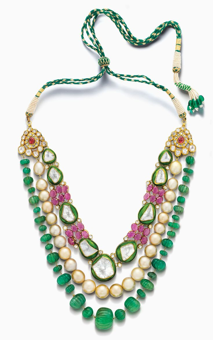 Design house jewelry - House Of Rose Necklace With Polki Diamonds Emeralds Pearls And Pink Sapphires Indian Jewellery Designbridal
