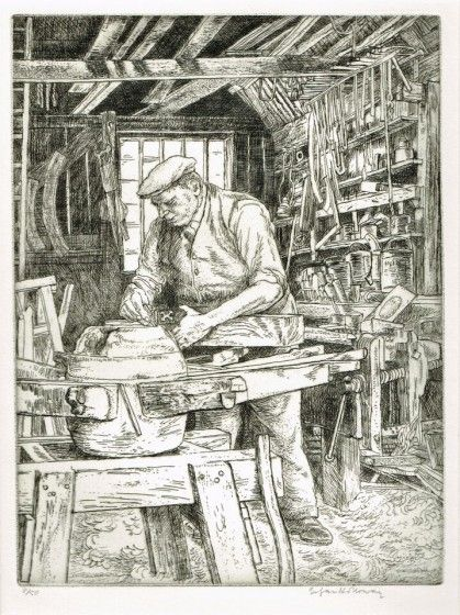 The Wheelwright Etching by Edgar Holloway