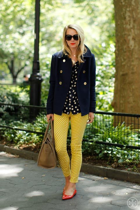 blair eadie on fall essentials for tory burch: Polka Dots Pants, Yellow Jeans, Yellow Pants, Color, Outfit, Tory Burch, Skinny Pants, Toryburch, Fall Essential
