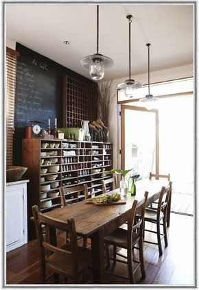 What a great utilization of space in a small dining room! Would love to have a smaller version of the shelves to sit on top of the buffet- perfect way to get the dishes out of kitchen cabinets!