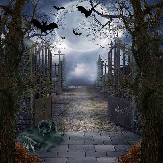 Halloween Night 10ft x 10ft Backdrop Computer Printed Photography Background XLX-075