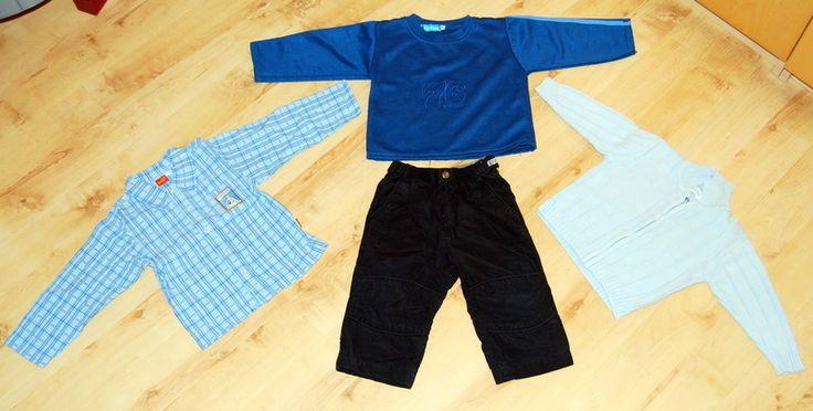 Winter Paket blau-schwarz mit Pulli Hemd Strickjacke und Thermohose in Größe 86 - mamikreisel.de