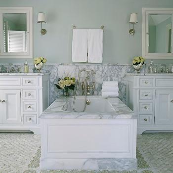White and Blue Bathroom Design, Traditional, bathroom, Phoebe Howard