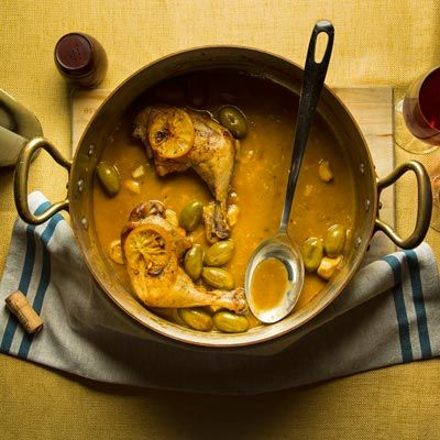 Our take on coq au vin, made with white wine and preserved lemons, is perfect for cold winter nights.