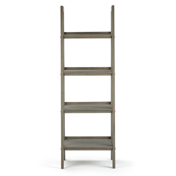 Simpli Home Sawhorse Distressed Grey 4-Shelf Bookcase Ladder Shelf-3AXCSAW-05-GR - The Home Depot