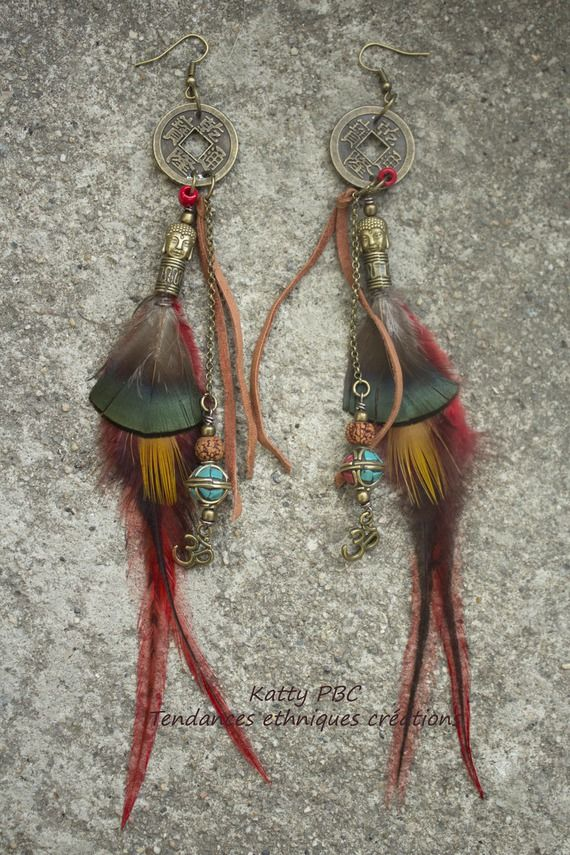 "Boucles d'oreilles plumes tibet "" Gu lang"" -Plumes, perles et cuir"
