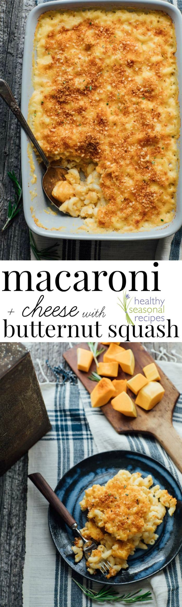 This macaroni and cheese with butternut squash is a healthy make-over of classic macaroni and cheese  nommed-up with whole-grain pasta, gruyere cheese, rosemary and loads and loads of butternut squash! I'm telling you, it's the most perfect comfort food casserole ever!!