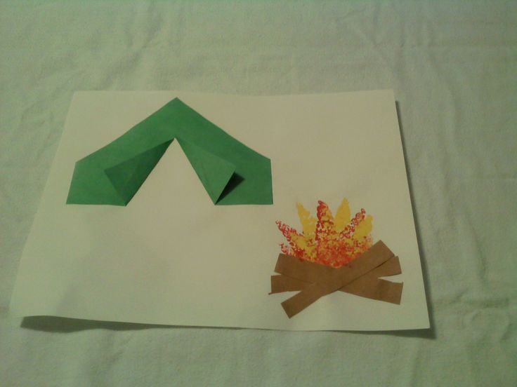 """C"" is for Camping---- preschool ABC  craft thanks Teacher Aimeee!!!     Campfire / tent craft. sponged on yellow and red paint for fire."