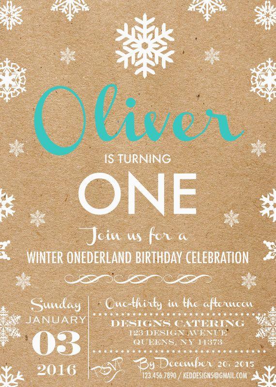 Printable-Invitation-Birthday-Winter-Wonderland-Onederland-Rustic-Snowflakes-White-Vintage feel-Boy-Girl-Custom-