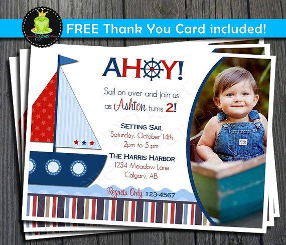 Best Daxton Birthday Ideas Images On Pinterest Autism Baby - Nautical birthday invitation ideas