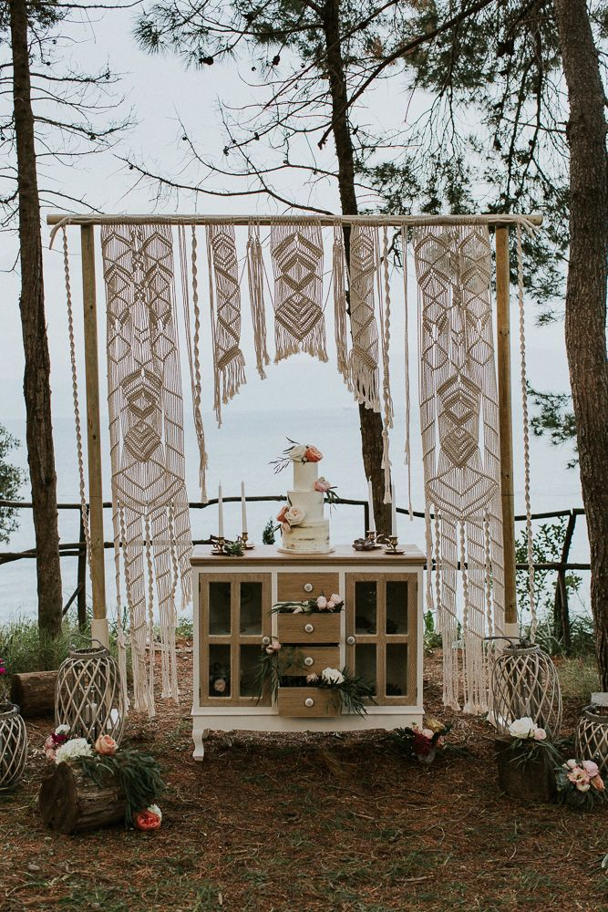 Photo by Intimate Love Memories - Organised and designed by Belli Momenti Weddings - Furniture and from bellimomenti.gr - Flowers by Leonidas Rammos - Cake by Cake Boutique Corfu - Stationery by Love Me Do! - Macrame backdrop by Boho choco - Featured on love4weddings.gr