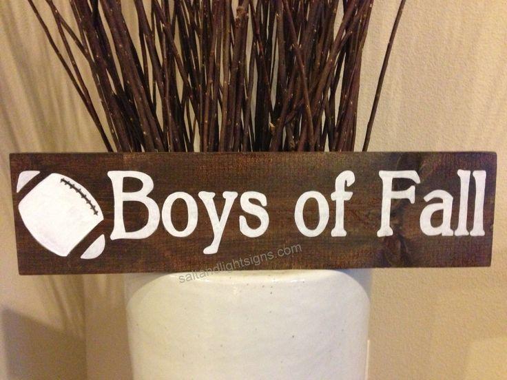 saltandlightsigns.com  Boys of Fall wooden football sign