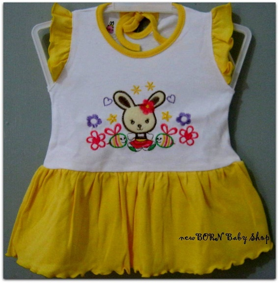 Baby Vi Bunny Dress  Age : 6-12 months  Material : Cotton/Katun  Colour : Green, Blue, Yellow, Pink
