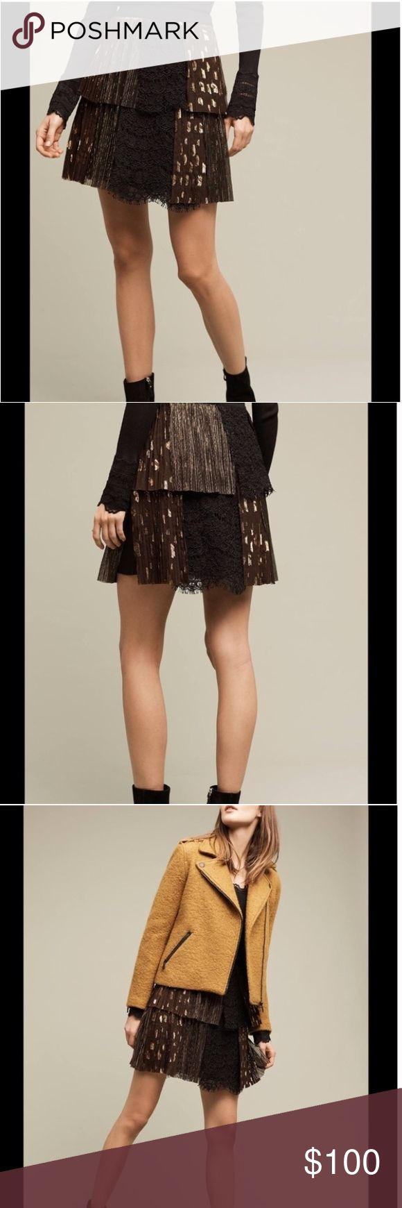 """NWT AnthroHARLYN SOHO Mini Skirt Black Gold Tiered NWT!! """"Soho Mini Skirt"""" ~ Layered or Tiered Style ~ Some of the Layers are Pleated Black with Gold """"Spots"""" ~ Other Layers are a Solid Black Floral lace ~ Some Layers are a Gold Lace ~ Has a Solid Black 1 1/2"""" Waistband... with a Zipper down the Left Side ~ Fully Lined ~ Above-Knee Mini Length Fabric:  Shell:  100% Rayon ~ Contrast 1: 70% Nylon 30% Cotton ~ Contrast 2: 100% Polyester ~  Lining:  100% Rayon Front of the Waist:  13"""" Waistband…"""