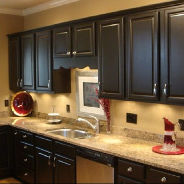 Yellow Kitchen With Dark Brown Cabinets 56 Best Kitchen Paint & Wallpaper Ideas Images On