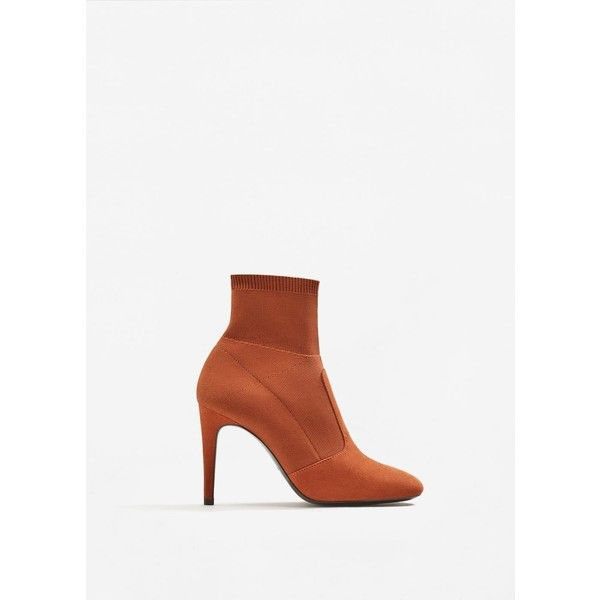 Heel Sock Boots ($67) ❤ liked on Polyvore featuring shoes, boots, mango shoes, stretch fabric shoes, stretch fabric boots, mango boots and high heeled footwear