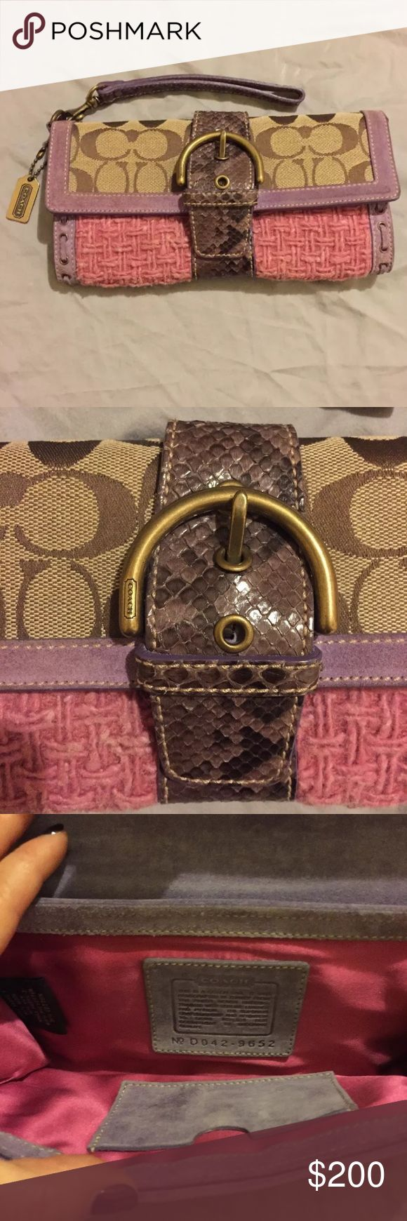 COACH WRISTLET / CLUTCH WITH SUEDE & PYHTON TRIM Gorgeous Coach wristlet: pink textured wool w/ signature fabric on the top flap. It has a buckle on the front & bow on the back. Purple suede trim & python trim down the center w/ python wrist loop. Inside, it has purple suede under the flap & pink satin lining w/ purple suede card holder.  The wool shows signs of wear. There are two spots: 1 on the inside of the suede flap and 1 on the wool to the left of the trim as shown in photo. Both are…