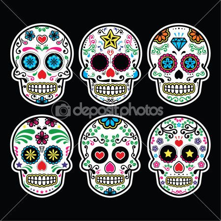 Мексиканские сахарных черепа, dia de los muertos иконки набор на черном фоне — Векторная картинка #45432955