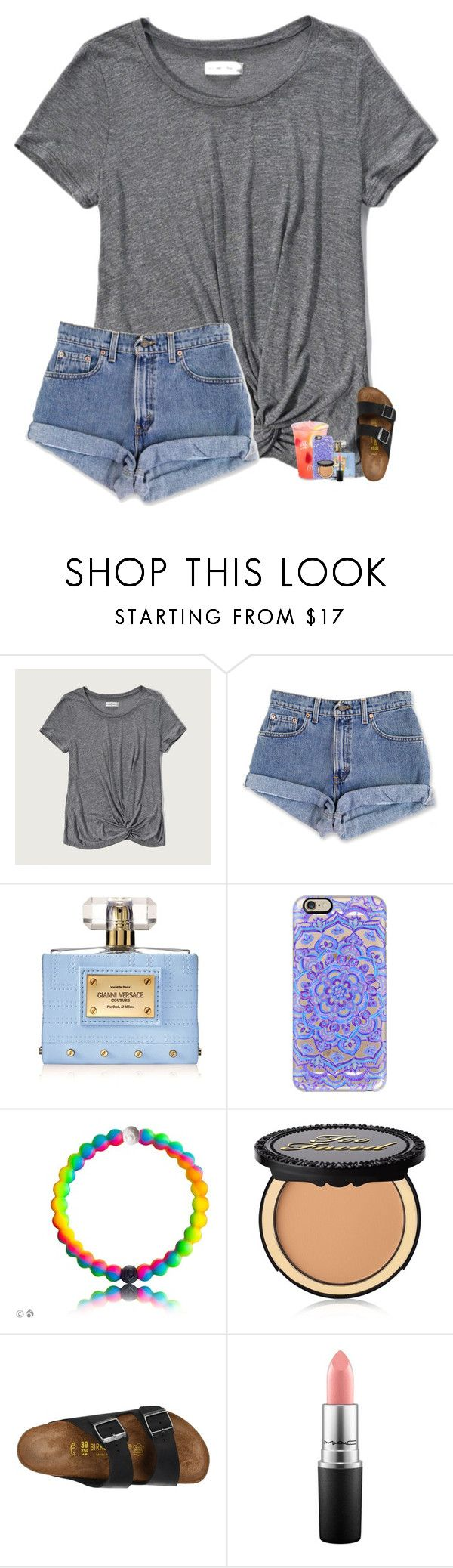 """""""comment for a tbh"""" by theblonde07 ❤ liked on Polyvore featuring Abercrombie & Fitch, Versace, Casetify, Too Faced Cosmetics, Birkenstock and MAC Cosmetics"""