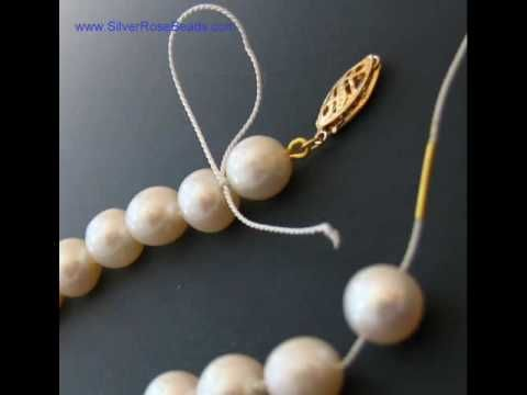 How to string and knot on silk thread  re-string a pearl or bead necklace