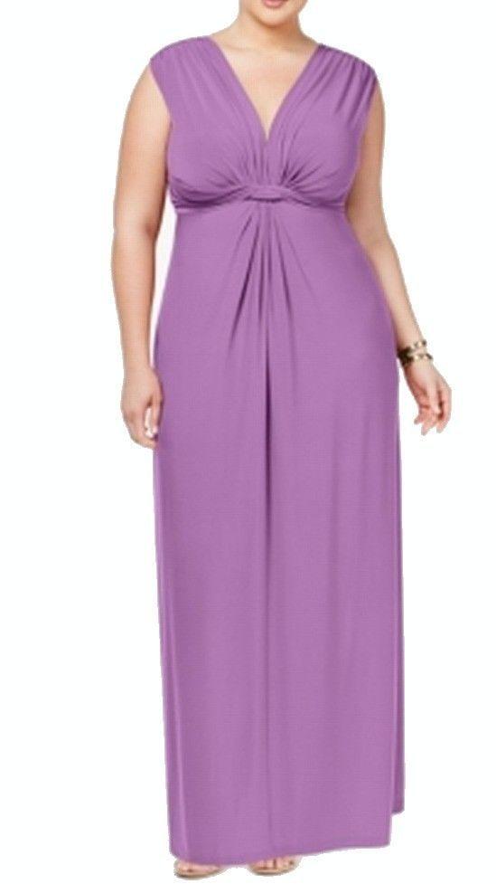 Love Squared NEW Plum Purple Womens Size 1X Plus V-Neck Stretch Sheath $79 183  | eBay