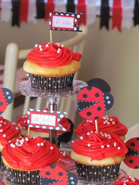 Ladybug party cupcake, cassady= light lemon cupcake, or vanilla or even a red velvet- than add red butter cream icing =boil cranberries for red colour DO NOT USE RED FOOD COLOURING, than add white candies