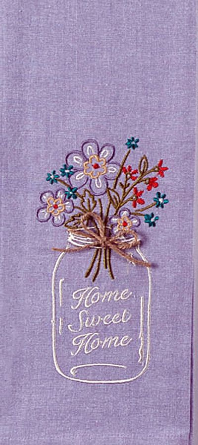 "Home Sweet Home Mason Jar Embroidered 100% Cotton Chambray Dish Towel / Tea Towel, 18"" x 28"""