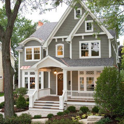Traditional Farmhouse Exterior Paint Colors | Chicago Home exterior color schemes Design Ideas, Pictures, Remodel