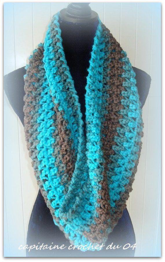 Echarpe tube,écharpe snood , snood Femme ,cache nez,cache col,cache cou , foulard ,écru, vintage fait main en laine bleu et marron 7c62e71d48b